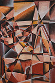 Fine Art - Cubist abstract painting of a woman in mised media of acylics and pastel