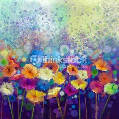 Abstract daisy- gerbera flowers, watercolor painting