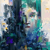 Abstract painting, a face looking through the geometric color shapes.