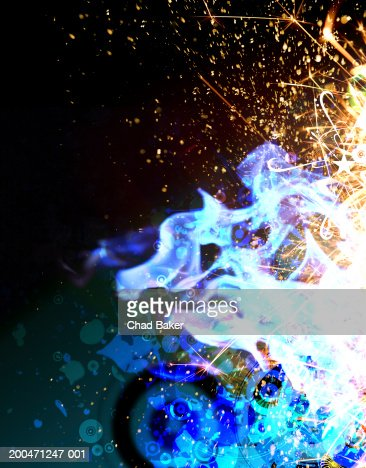 Abstract flames and sparks (Digital) : Stock Illustration