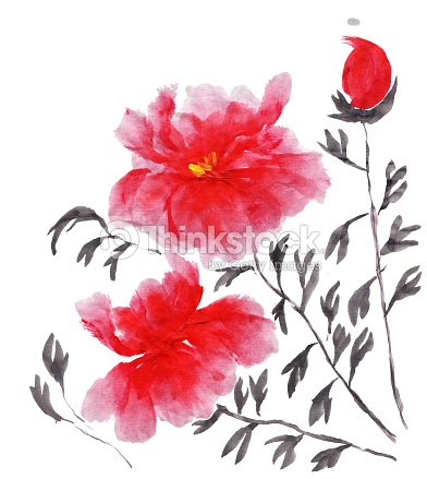 e9ba51f7 Abstract floral collage in Japanese folk painting style Sumi-e. Brighy pink  red hand