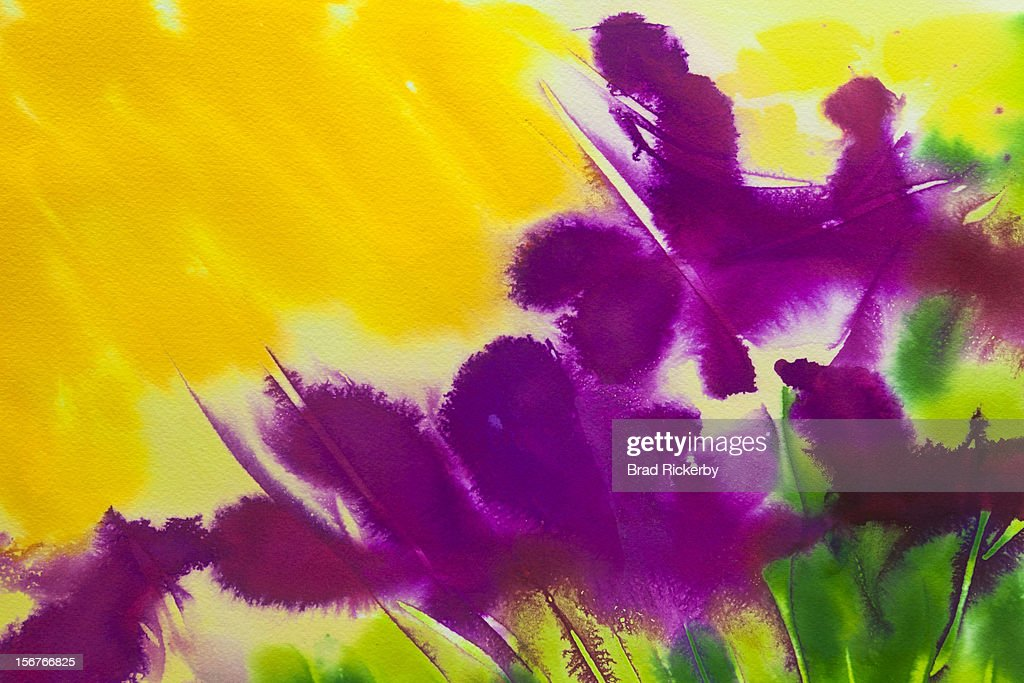 Abstract floral iris watercolor : Stock Illustration
