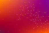 Abstract futuristic background with dots and lines. Molecular particles and atoms, polygonal linear digital texture. Technological and scientific concept. Illustration