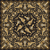 Abstract golden mermaid print on a dark black background. Paisley pattern, hand drawn fish, fantasy sea animals, ornate cute octopus. Bandana design, scarf, kerchief ornament, tee shirt gold print