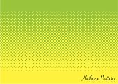 Abstract halftone green and yellow background image with circular pattern