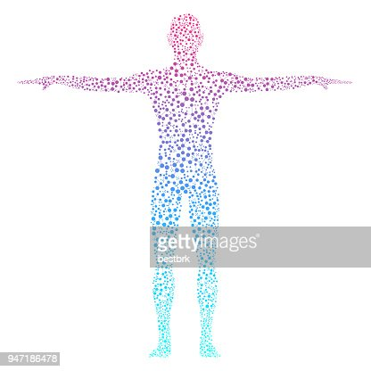 Abstract human body with molecules DNA : Stock Illustration