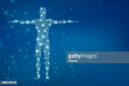 Abstract human body with molecules DNA. Medicine, science and technology concept. Illustration : Stock Illustration