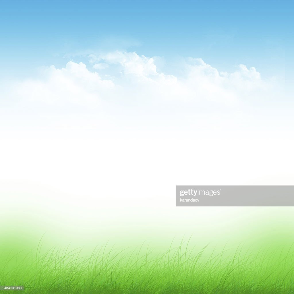 Abstract illustration of blue sky and green field : Stock Illustration