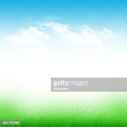 Cielo azul y verde Campo : Ilustración de stock