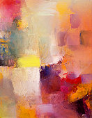 Abstract layer artwork, oil paints on opaque and transparent acrylics, analog and digital textures combined.