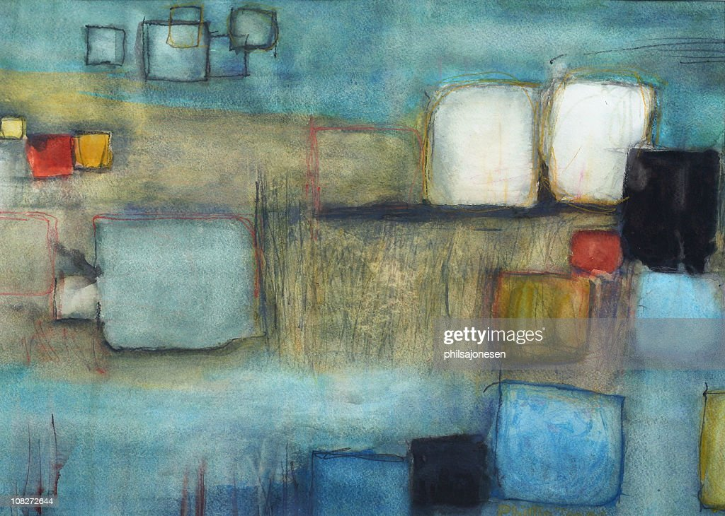 Squares Abstract Painting : Stock Illustration