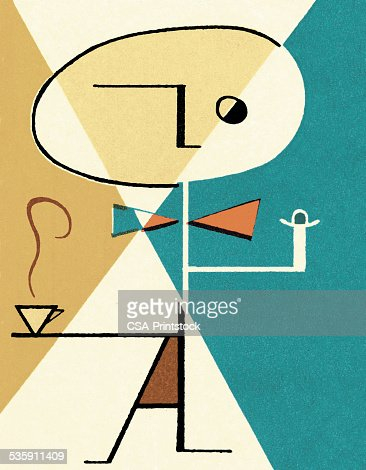 Abstract Person with Coffee : Stock Illustration