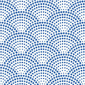 abstract seamless wavy pattern with geometrical fish scale layout. Watercolor blue rain water drops on a white background.Peacock tail shape, fan silhouette.Textile print, web page fill, batik