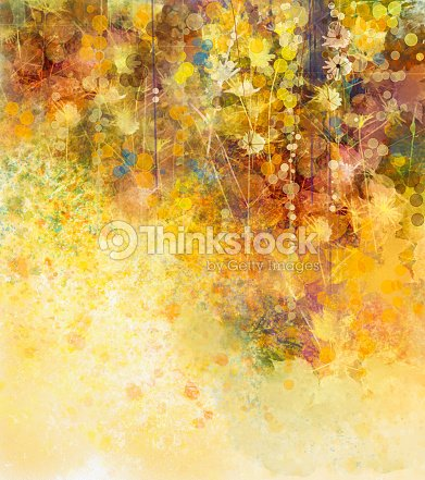 Abstract Watercolor painting white flowers and soft color leaves