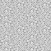 Abstract wavy seamless geometrical pattern from small spotted squares with gray watercolor texture on a white background. Floor tile, wallpaper, wrapping paper, page fill in Mediterranean ceramic mosa