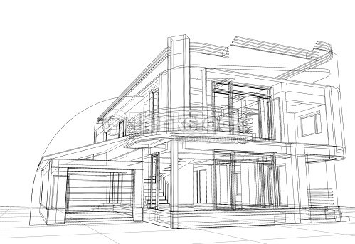 Abstract Wireframe Construction House Architecture Stock