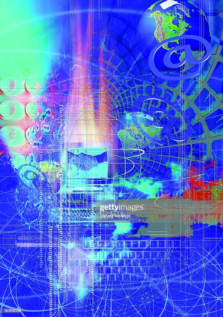 Abstract with globes depicting internet : Stock Illustration