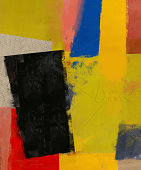 Abstract composition which consists of a plurality of colored layers.