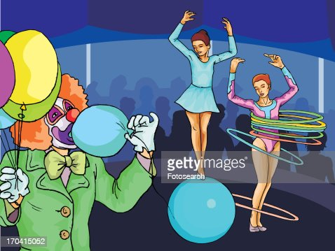 Acrobats performing in circus : Stock Illustration
