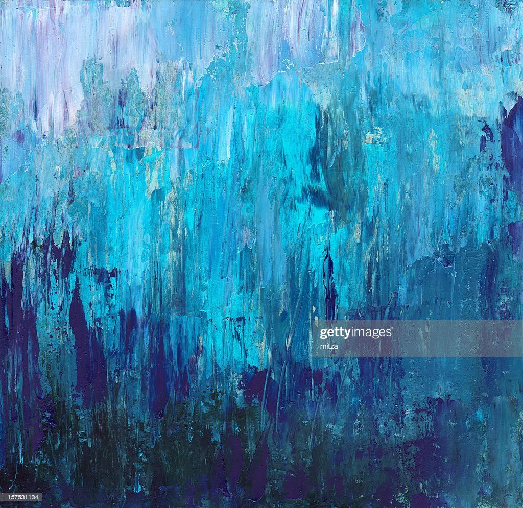acrylic painted abstract background in blue stock photo