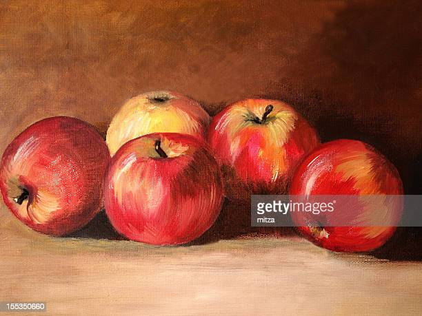 Acrylic painted apples on textured background