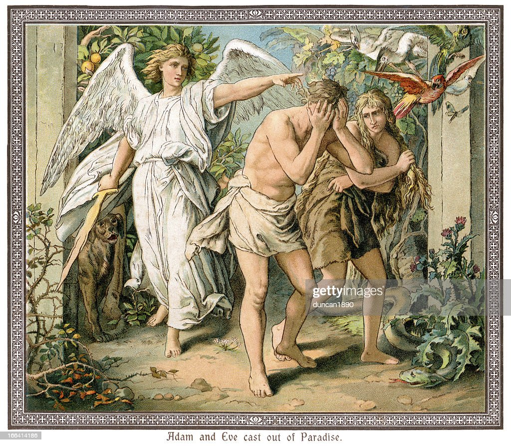 Adam and Eve cast out of Paradise : Stock Illustration