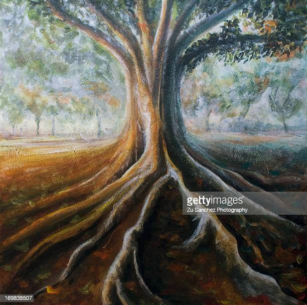 Aerial roots in painted canvas
