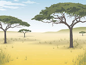Vector picture of nature of the African savanna