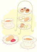 Afternoon tea, close-up, illustration