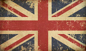 Illustration of an rusty, grunge, aged British Flag.