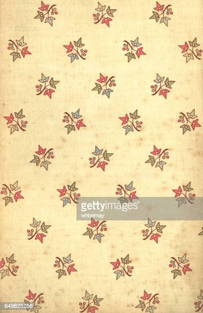 Age-stained Victorian floral patterned fabric