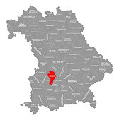 Aichach-Friedberg county red highlighted in map of Bavaria Germany