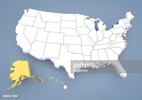 Alaska Ak Highlighted On A Contour Map Of Usa United States Of - Alaska highlighted on us map