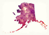 Alaska state USA watercolor map in front of a white background