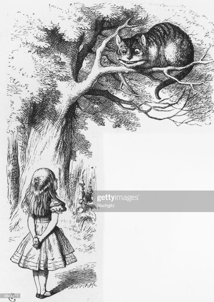 Alice talking to the Cheshire Cat in a scene from 'Alice in Wonderland' by Lewis Carroll Alice in Wonderland 1st edition pub 1865 Illustration by Sir...