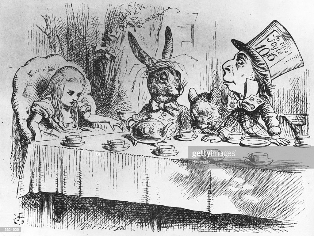 Alice the March Hare the dormouse and the mad hatter at the latter's tea party From 'Alice in Wonderland' by Lewis Carroll Alice In Wonderland 1st...