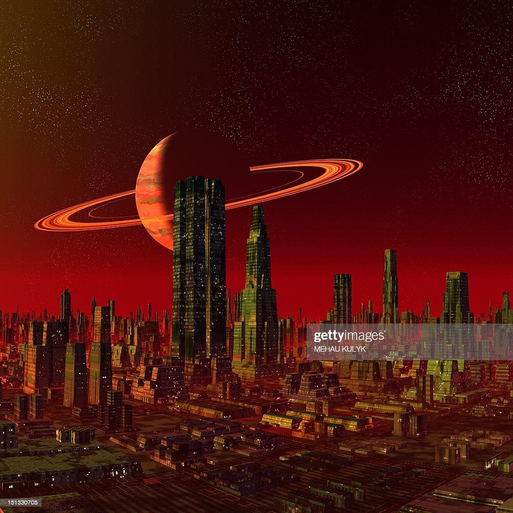 Alien city, artwork : Stock Illustration