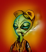 Illustration of an Alien with fishing vest and a trucker hat. Smoking a cigarette.