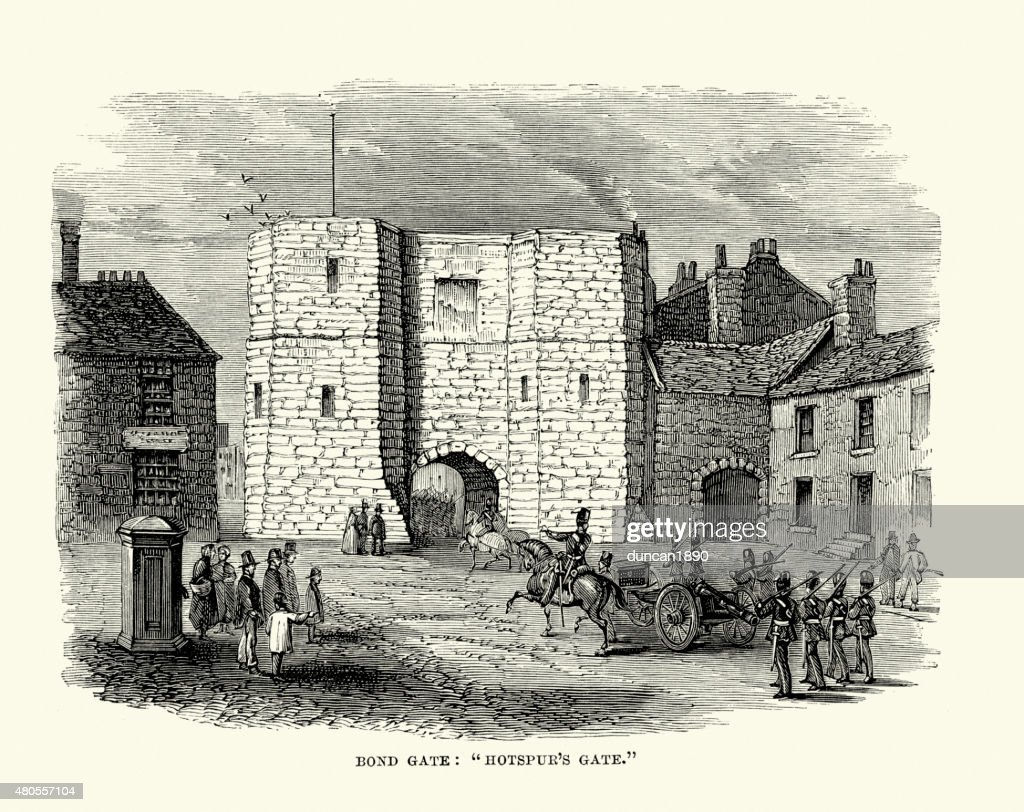 Alnwick Castle - Bond or Hotspur's Gate : Stock Illustration