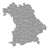 Amberg city red highlighted in map of Bavaria Germany