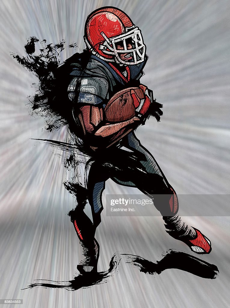 American football player holding football : Stock Illustration