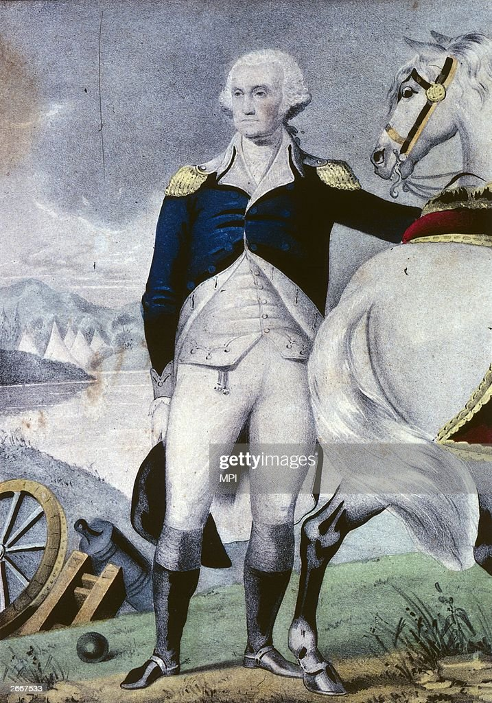 American General and later the first President of the United States, <a gi-track='captionPersonalityLinkClicked' href=/galleries/search?phrase=George+Washington&family=editorial&specificpeople=67214 ng-click='$event.stopPropagation()'>George Washington</a> (1732 - 1799) on the battlefield. Original Artwork: Engraving by Nathaniel Currier.