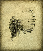 Profile portrait of an American Indian chief. Pencil on paper, slightly processed.