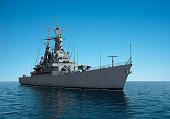 American Modern Warship In The High Seas. 3D Illustration.