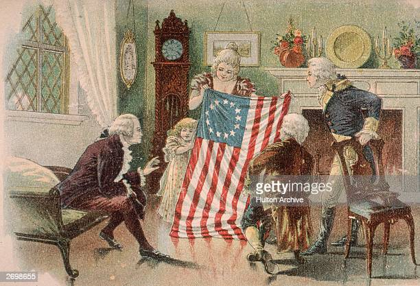 American seamstress Betsy Ross showing the first design of the American flag to George Washington in Philadelphia
