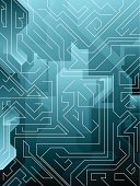 An abstract maze type illustrated background in different shades of blue