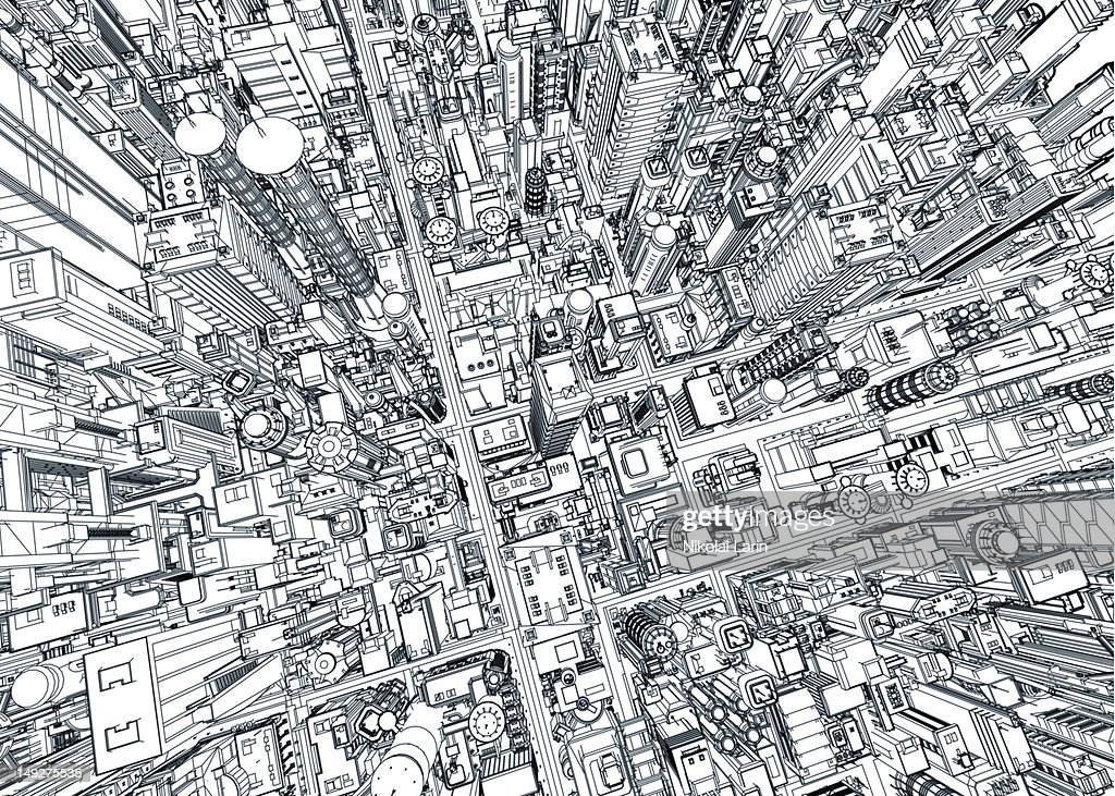 An aerial view of a city : Stock Illustration