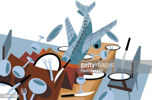 An airplane that has crashed into a dinner table : Stock Illustration