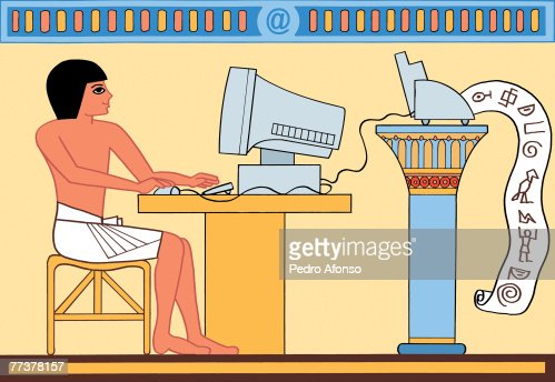 An ancient egyptian using computer and printing out scripts : Stock Illustration