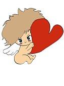An angel holding heart, Illustration, Cartoon, Portrait